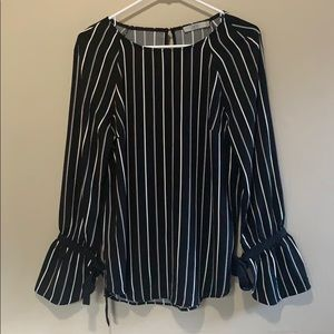 Black & White Stripped Bell Sleeve Tie Blouse - M